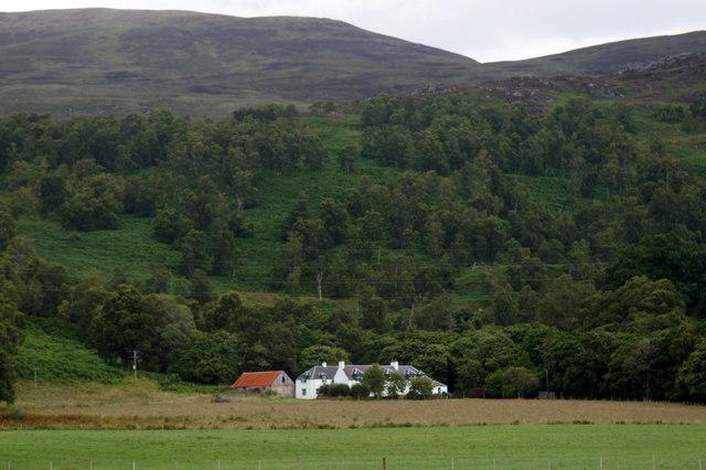 Culligran House, Glenstrathfarrar, from south of the river