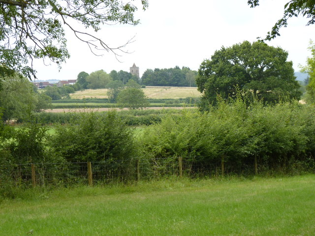 Looking across fields to Grafton Flyford Church
