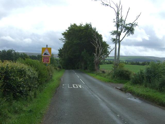 Approaching steep downhill on the B6355, Danskine