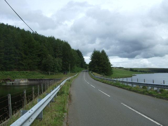 B6355 crossing the Whiteadder Reservoir