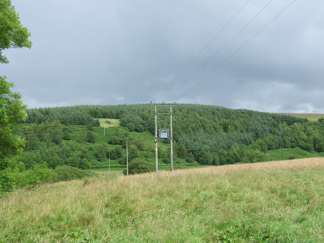 Grassland and power lines, Cranshaws