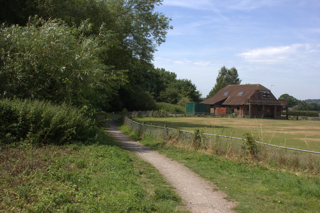 Path alongside Nutfield cricket ground