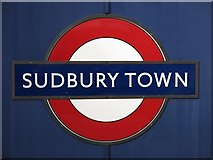 TQ1684 : Sudbury Town tube station - roundel by Mike Quinn
