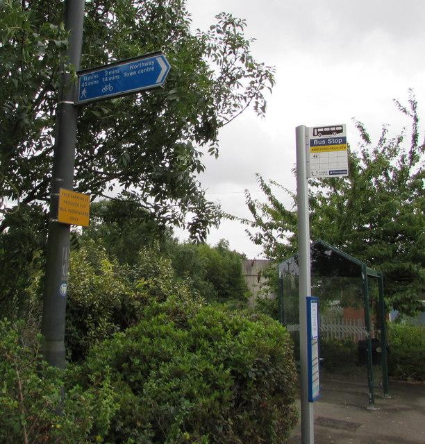 Tewkesbury town centre direction sign near Ashchurch railway station