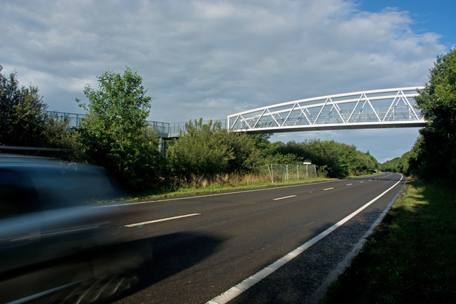 A new cycle footpath over the A39 at Roundswell