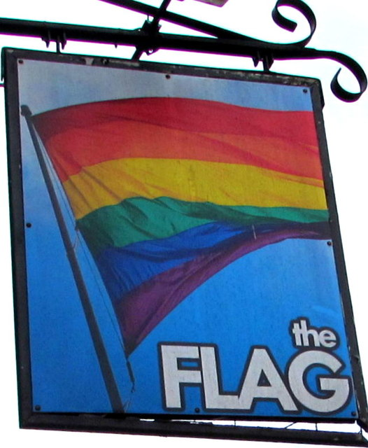 Multicoloured Flag name sign, Lowesmoor, Worcester