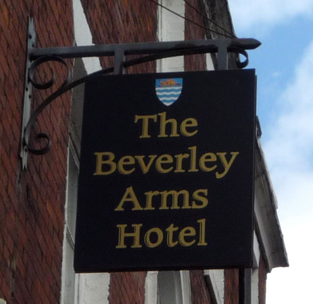 Sign for the Beverley Arms Hotel