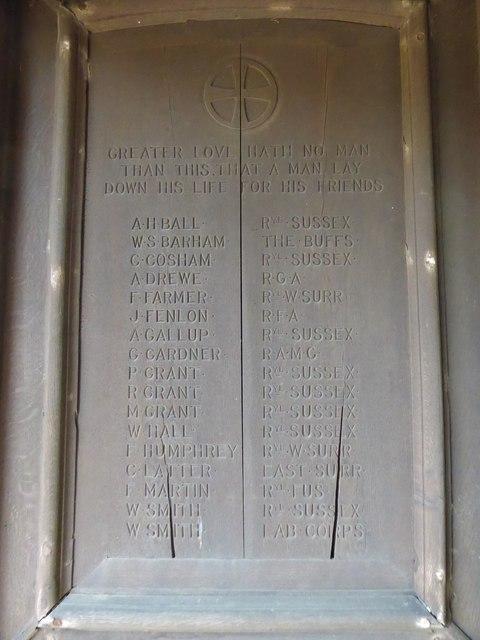 St. John the Baptist, Tidebrook: memorial (B)
