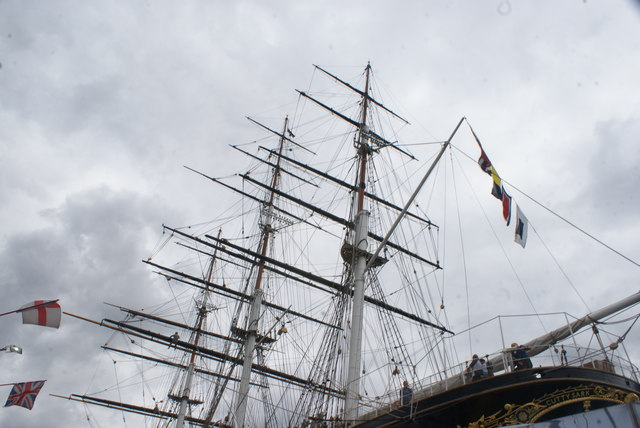 Looking up at the masts of the Cutty Sark