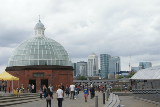 View of the Greenwich Foot Tunnel entrance and Canary Wharf from the Cutty Sark plaza