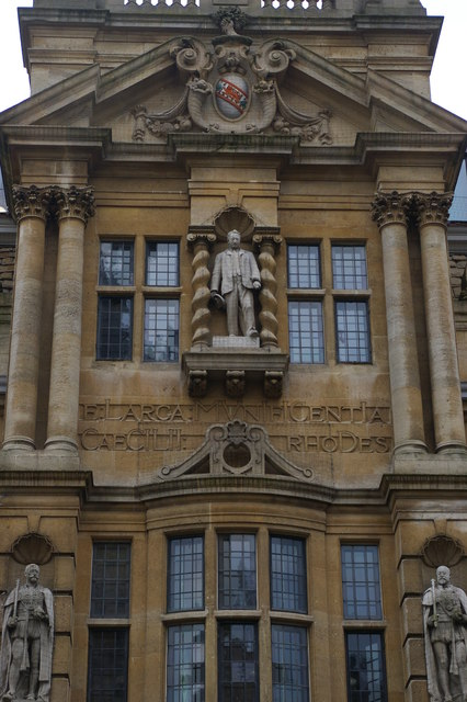 Statue of Cecil Rhodes, High Street frontage of Oriel College, Oxford
