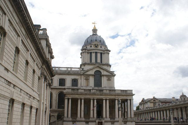 View of the Royal Naval College Chapel from the grounds of University of Greenwich