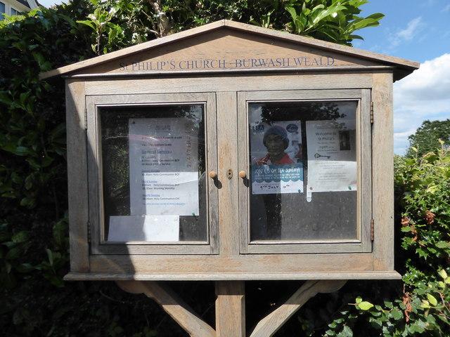 St Philip, Burwash Weald: notice board