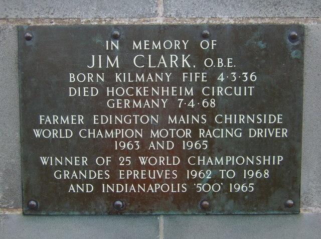 Plaque on Jim Clark Memorial at Chirnside