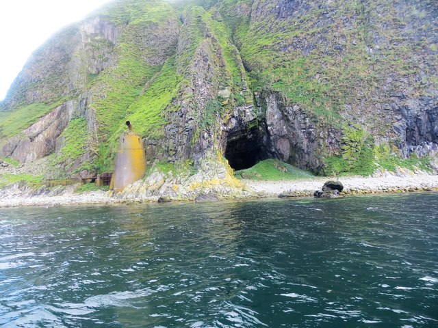 Swine cave and disused foghorn on Ailsa Craig