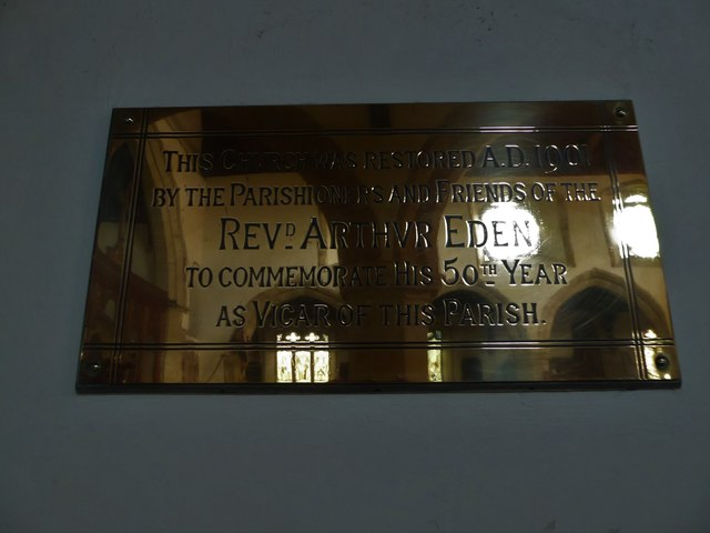 St Mary, Ticehurst: 50th year anniversary plaque