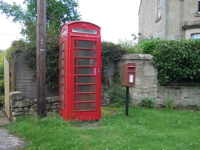 Elizabethan postbox and telephone box, Chirnsidebridge