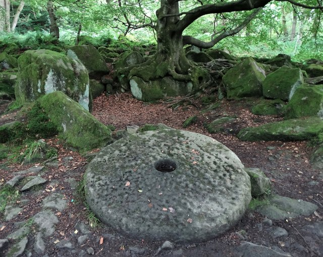 Abandoned millstone in Padley Gorge