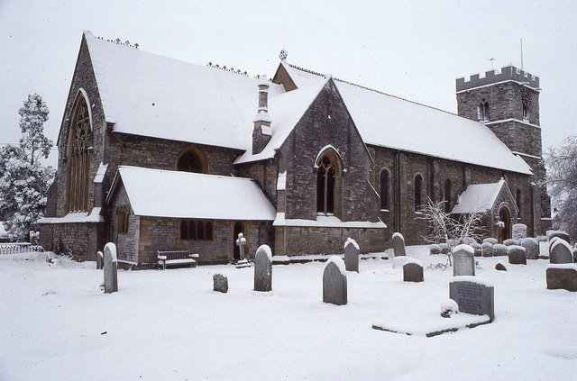 Twyning church in snow