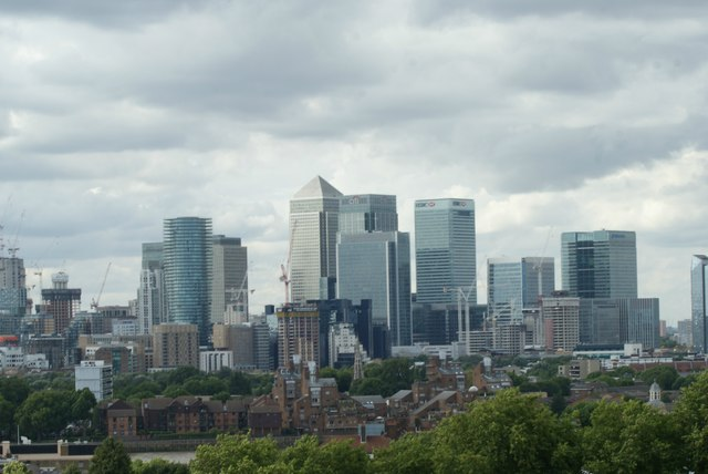 View of Canary Wharf from One Tree Hill