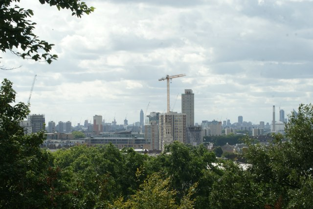 View of a block of flats under construction in Greenwich from One Tree Hill