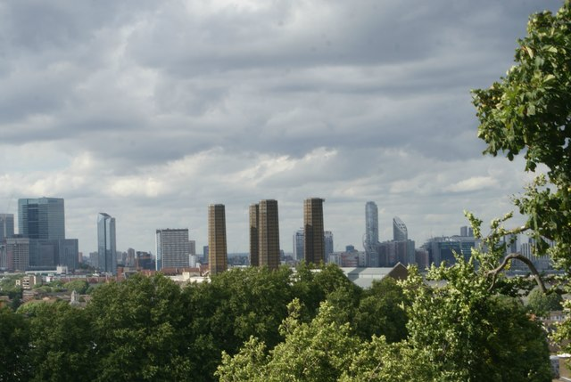 View of the chimneys of Greenwich Power Station from One Tree Hill #2