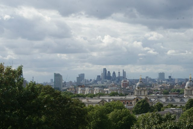 View of the Walkie Talkie, Cheese Grater, Tower 42 and Gherkin from One Tree Hill
