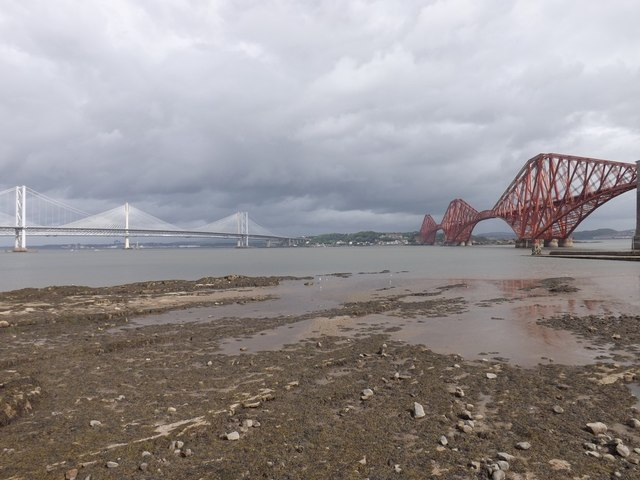 The Forth bridges from Queensferry beach