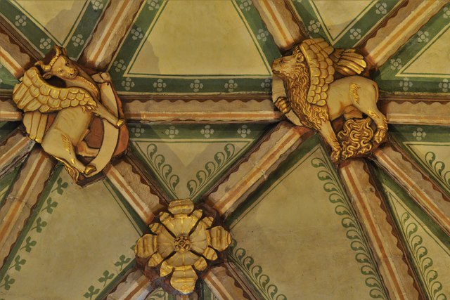 Tewkesbury Abbey, nave lierne vault boss: 'The Evangelical Symbols'