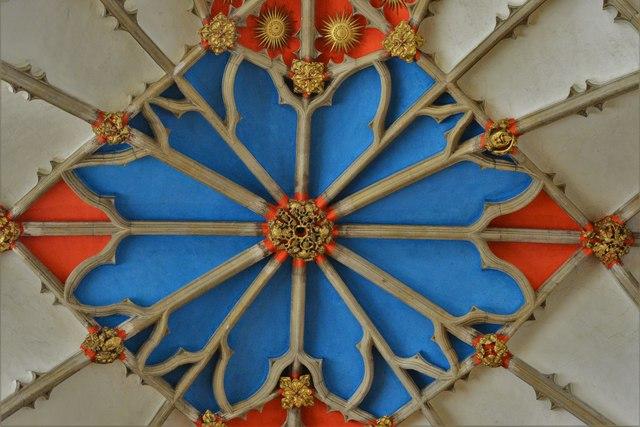 Tewkesbury Abbey: The presbytery vault detail