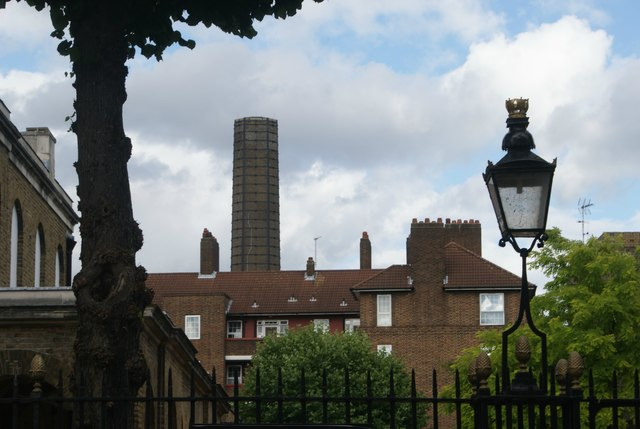 View of the chimney of Greenwich Power Station from Park Row