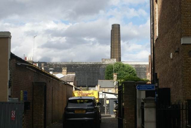 View of the chimney of Greenwich Power Station from Park Row #2