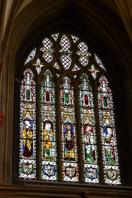 Tewkesbury Abbey: King Solomon and four prophets in the NE window