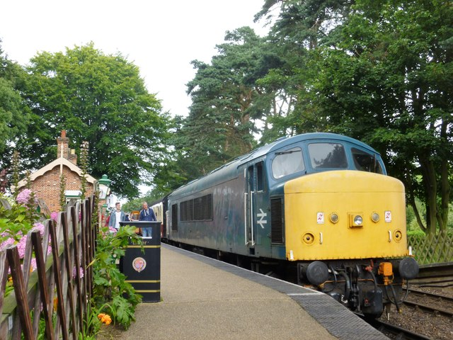 Diesel locomotive in Holt Station, Norfolk