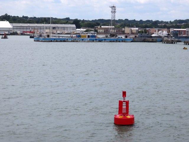Deans Elbow marker buoy by Solent Refit's pier