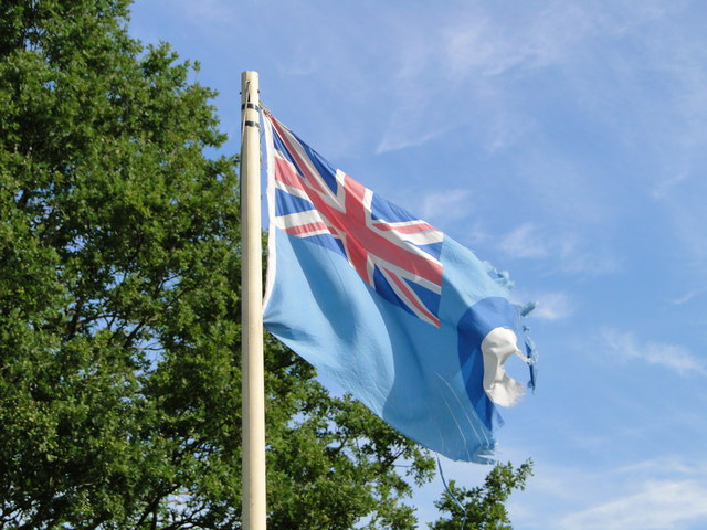 The flag of the Royal Air Force still flying