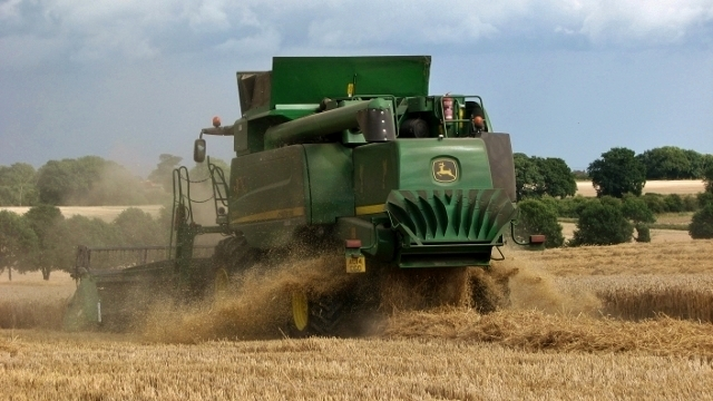 A combine harvester at work