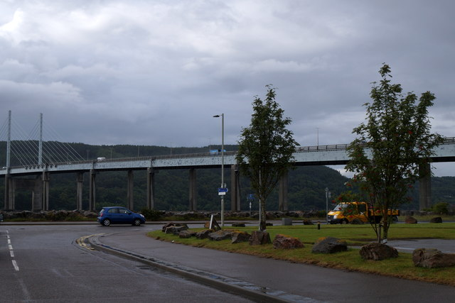 The Longman end of the Kessock Bridge in Inverness