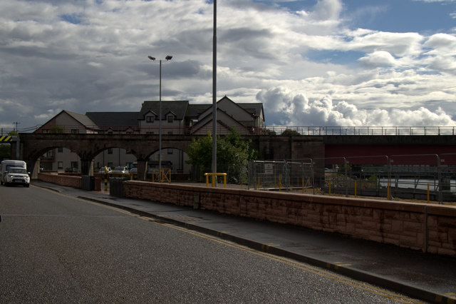 The east end of the railway bridge over the Ness in Inverness
