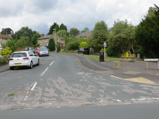 Grange Road in Dacre Banks at its junction with the B6451