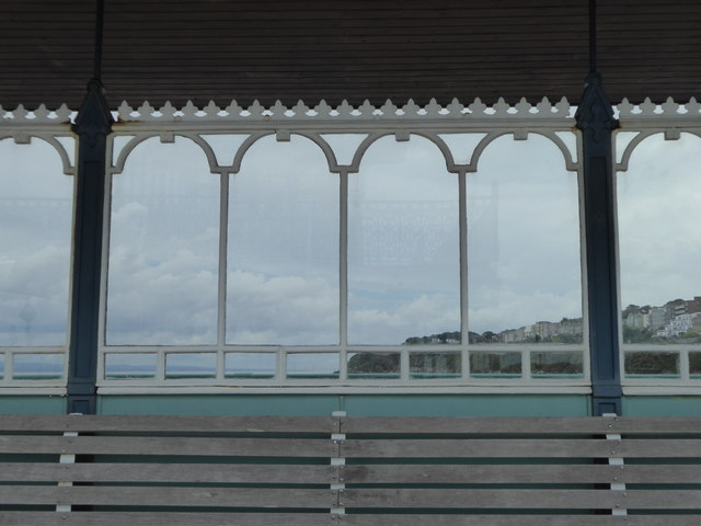Detail of screen in shelter on Clevedon Pier