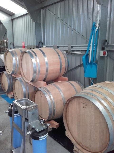 Somerby Vineyard, oak barrels