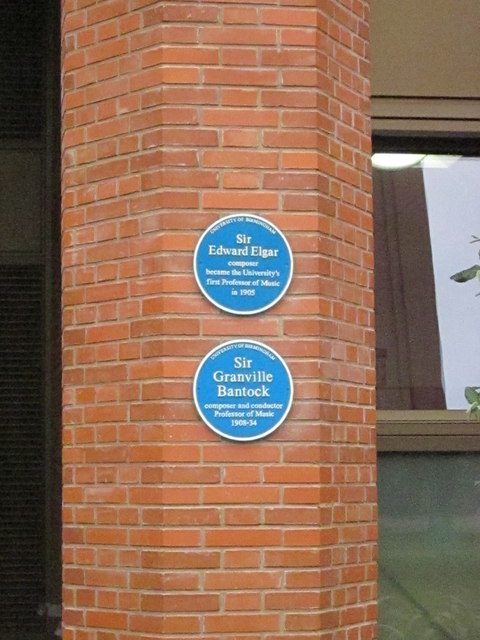 University of Birmingham Bramall Music Building With Blue Plaques