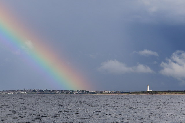 Just there, under the rainbow - Lossiemouth!