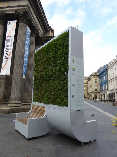 Demonstrating clean air, vertical garden by GoMA