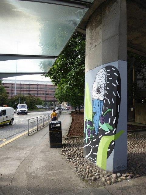 Street art on the pier of a footbridge, North Street