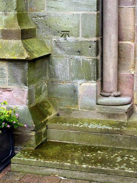 Bench mark, St Mary's Church, Ilkeston