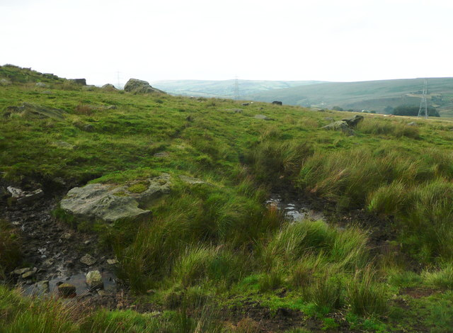 The Rochdale Way crossing a stream near Ferny Hill
