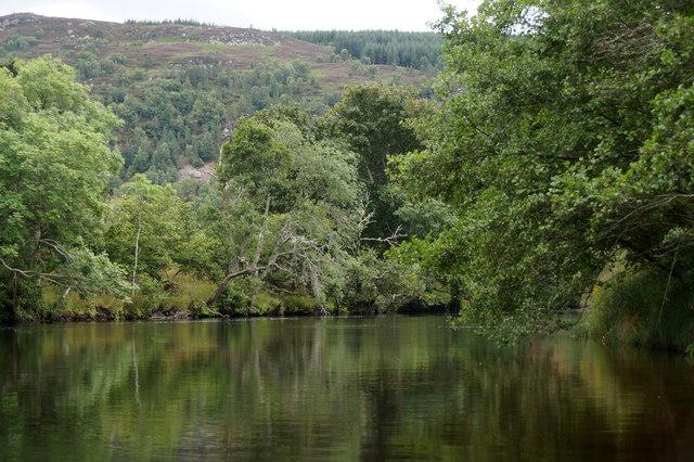 River Beauly from canoe at Knocknashalavaig