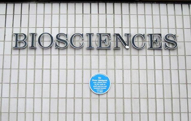 University of Birmingham Bioscinces Building With Blue Plaque to Sir Peter Medawar